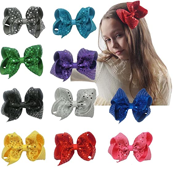 Amazon cn 5 sequin hair bow boutique baby girls grosgrain cn 5quot sequin hair bow boutique baby girls grosgrain ribbon hair bows with alligator urmus Choice Image