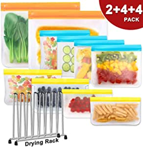 Reusable Storage Bags (Set of 10) - BPA FREE Silicone Fresh Food Bags, Freezer Bags, Gallon Bags, for Food, Fruits, Vegetable, Snack, Meat, Sandwich