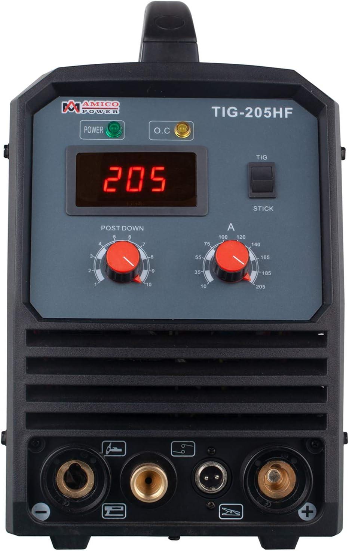 TIG-205HF 205 Amp TIG Torch Stick Arc DC Inverter Welder High Frequency /& High Voltage 100/% Start 95~260V Wide Voltage Welding Machine.