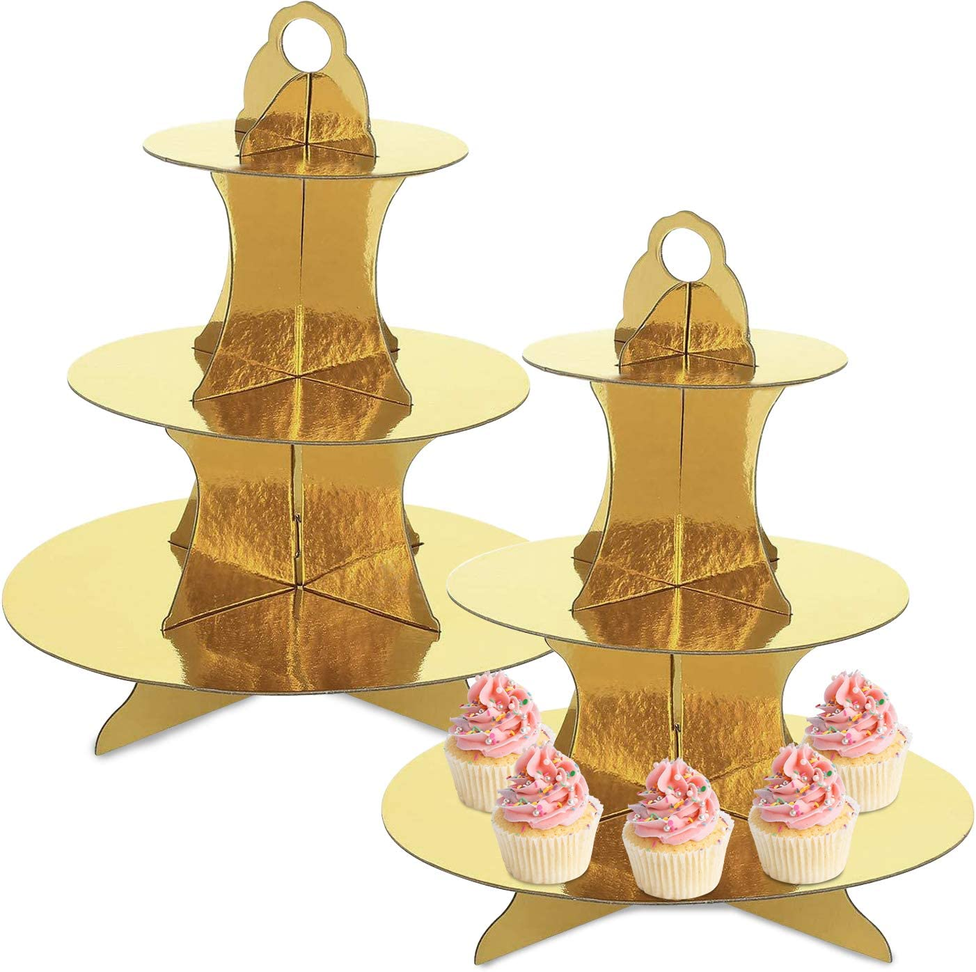 2 Pack 3-Tier Cardboard Cupcake Stand, Gold Round Dessert Cupcake Tower Pastries Food Display for Birthday, Wedding, Baby Shower