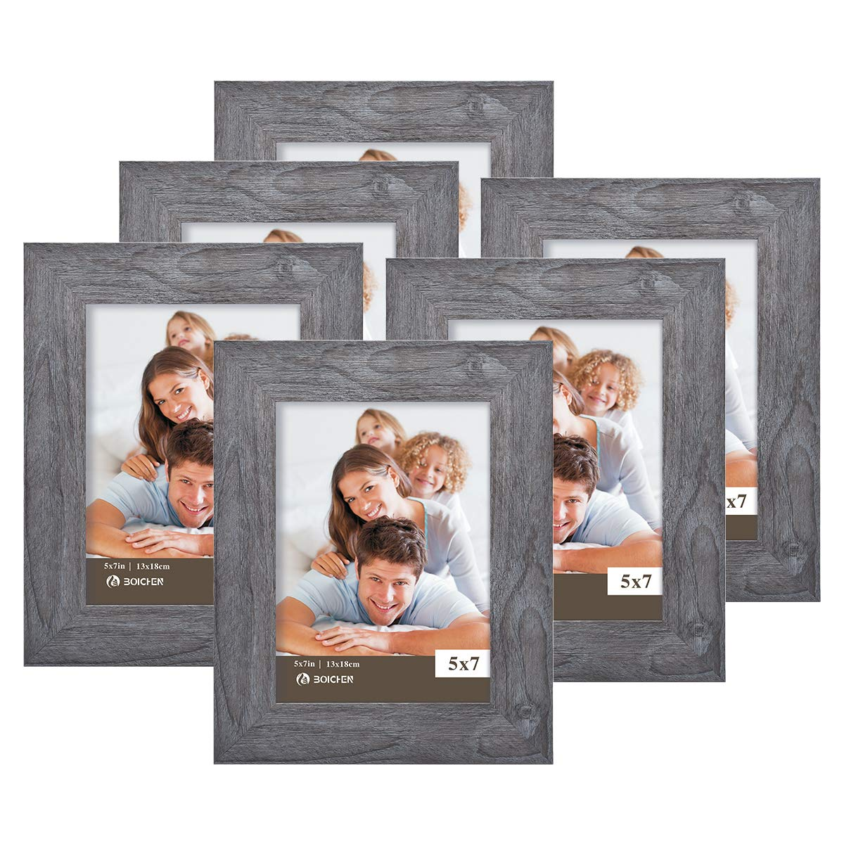 Boichen 5X7 Picture Frames 6 Pack Rustic Style Wood Pattern High Definition Glass for Tabletop Display and Wall mounting Photo Frame by Boichen