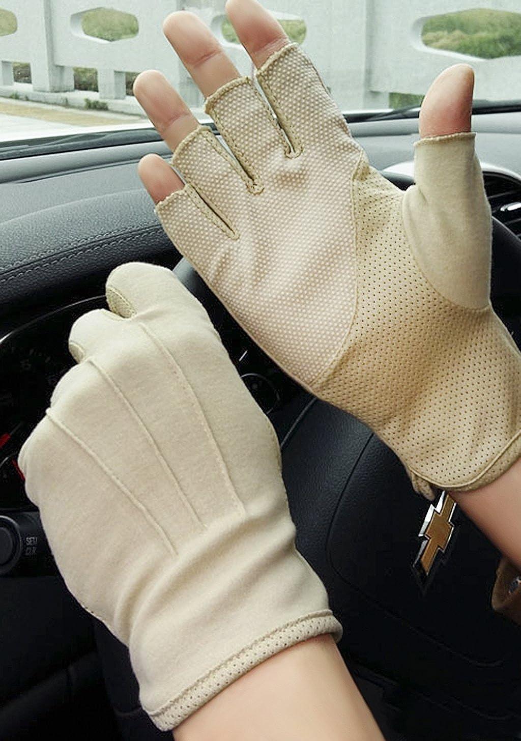 Baumwollhandschuhe Fingerlose Handschuhe Rutschfeste Fahrradhandschuhe Sonnenschutz Halbfinger Fäustlinge Laufhandschuhe Für Autofahren Motorrad Fahrrad Sport Camping Wandern Outdoor Männer Frauen Bekleidung