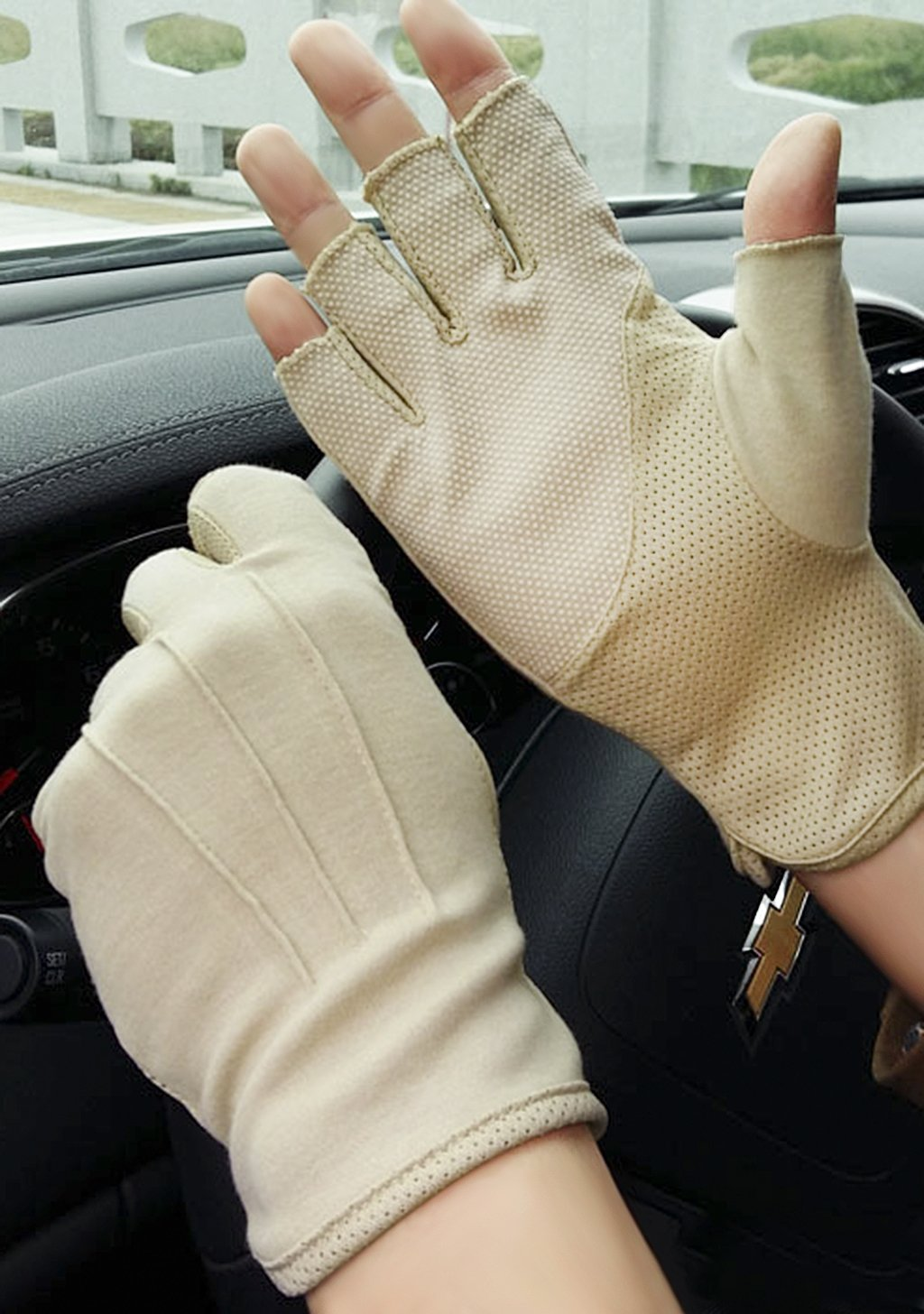 JIAHG Men Summer Driving Gloves Women Sunscreen Half Finger Fingerless Gloves Lightweight Summer UV Protection Cycling Gloves Breathable GYM Fitness Workout Motorcycling Cotton Gloves