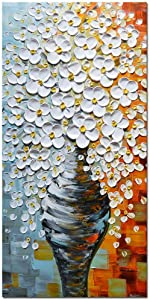 Asdam Art Oil Paintings - 3D Hand painted Flower Canvas Paintings White Floral Vase Art Vertical Wall art Abstract Modern Wall Artwork Decor For living Room Bedroom Bathroom Home Framed 20x40 inch