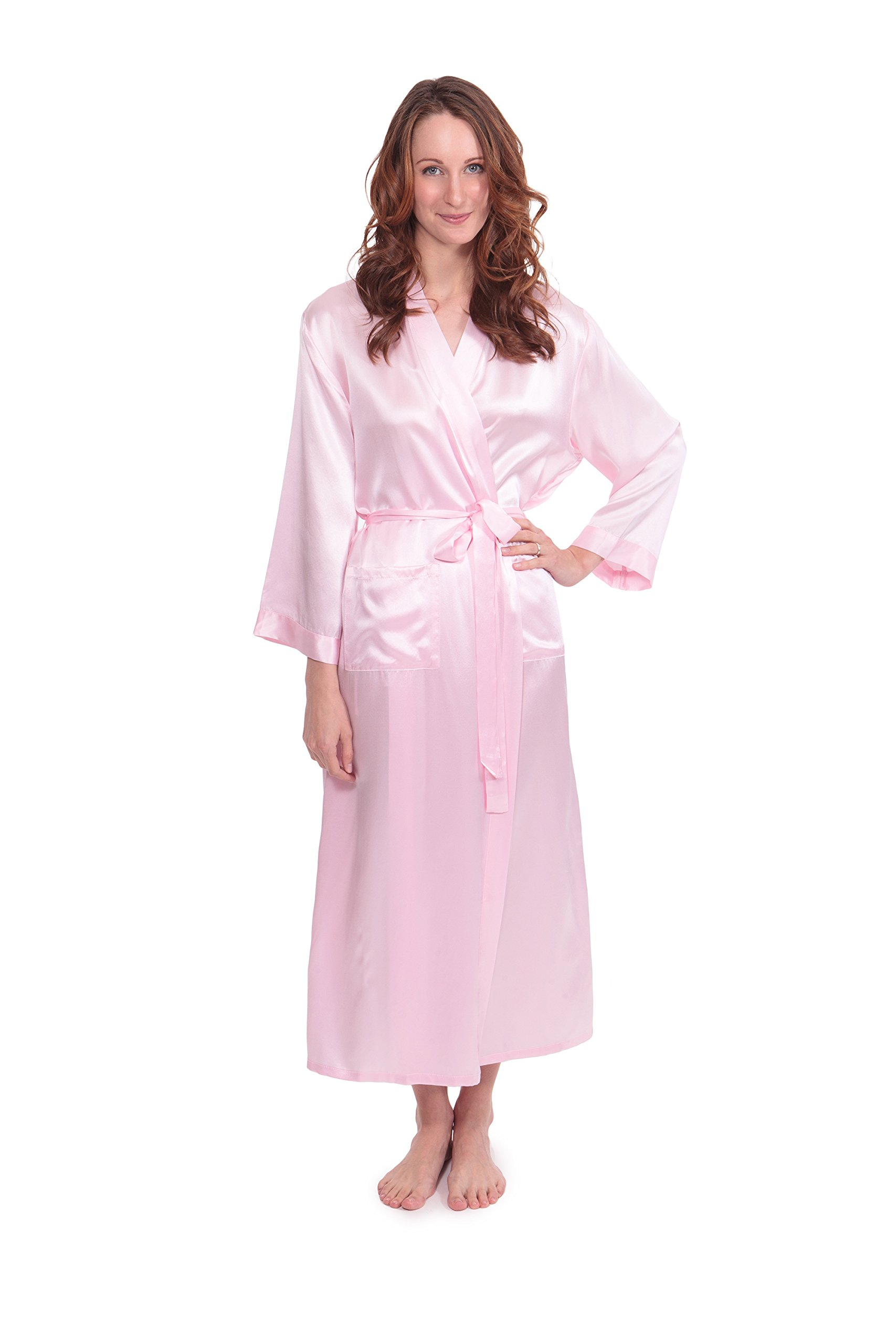Women's 100% Long Silk Robe - Luxury Bathrobe by TexereSilk (Perla Naturale, Barely Pink, Large/X-Large) Beautiful Gifts for Daughter Wife Fiancee WS0101-BPN-LXL