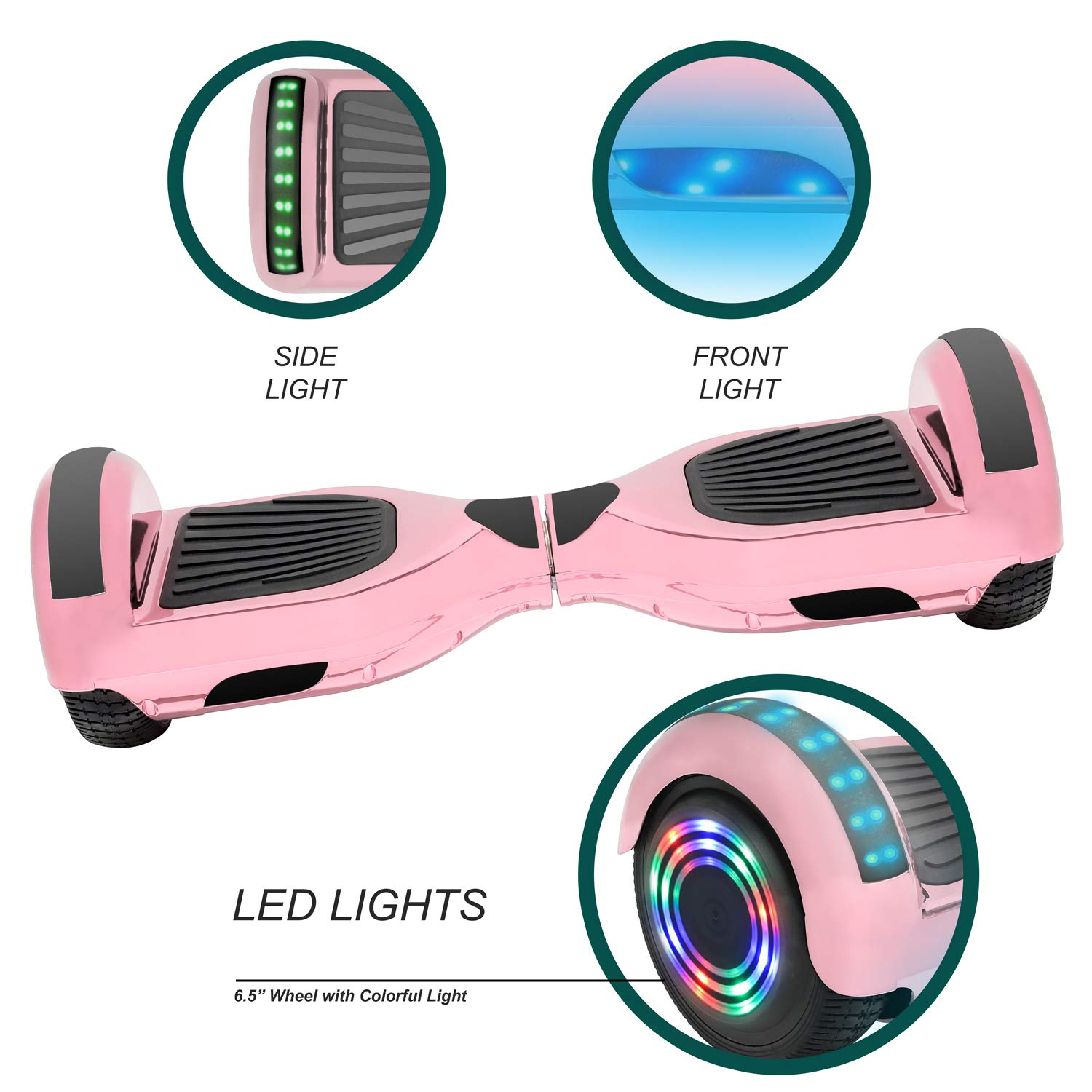 NHT 6.5'' Hoverboard Electric Self Balancing Scooter Sidelights - UL2272 Certified Black, Blue, Pink, Red, White or Chrome Style (Chrome Rose Gold) by NHT (Image #2)