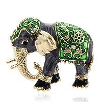 TOOGOO Lovely Garment Accessories Rhinestone Brooch Pin Enamel Brooch Fashion Jewelry Elephant Animal Shape Green