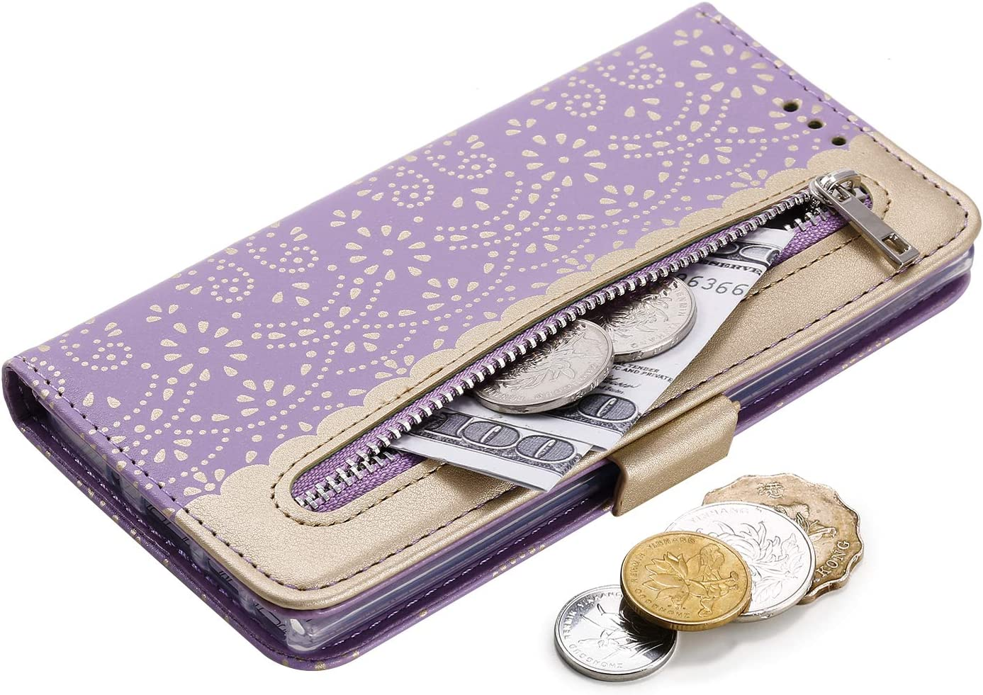 Rose Amocase Wallet Zipper Leather Case with 2 in 1 Stylus for Samsung Galaxy Note 10//Note 10 5G,Premium Pretty Lace Flower Print Wrist Strap Magnetic PU Leather Stand Shockproof
