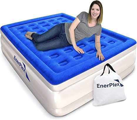Inflatable Double High Raised Double Sized Air Mattress Built in Pump Guest Bed