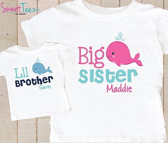 ac2e18d3e Amazon.com: Big Sister Little Brother Shirt Personalized Whale Shirt Kids  Set of 2 Shirts Gift Set: Handmade