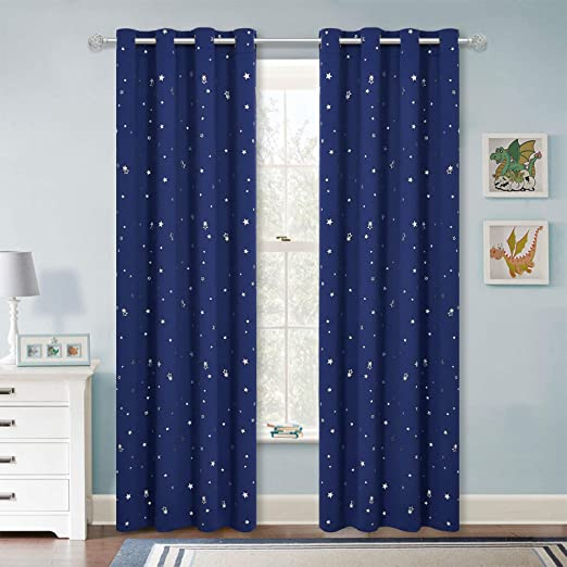 CURTAIN PANEL Fabric Navy space planet theme Children Blackout curtains for room bedroom kids boys custom made