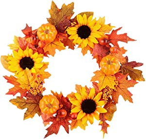 Meiliy Fall Wreath 20 inch Autumn Maple Leaf Wreath for Front Door Wreath Decoration for Indoor Outdoor Halloween Thanksgiving Home Decor