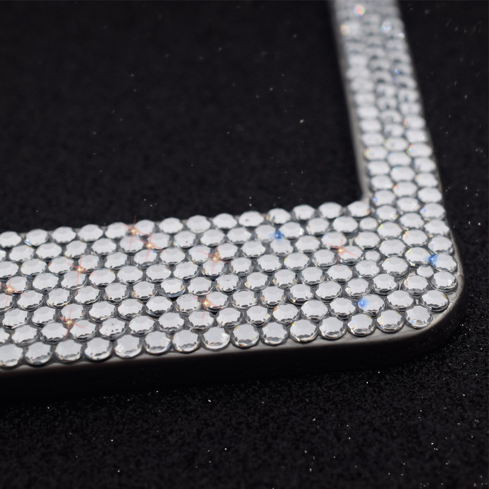 2 Pack-8 Row Pure Handmade Waterproof Glitter Rhinestones Crystal License Frames Plate for Cars with 2 Holes with Screws Caps Set Bling Bling License Plate Frames FEENM White /& Black Bowtie