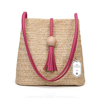 73f49d4ad1 Turelifes Straw Bag Hand Weave Beach Handbag Summer Crossbody Shoulder Bags  Bucket Tassel Totes for Women