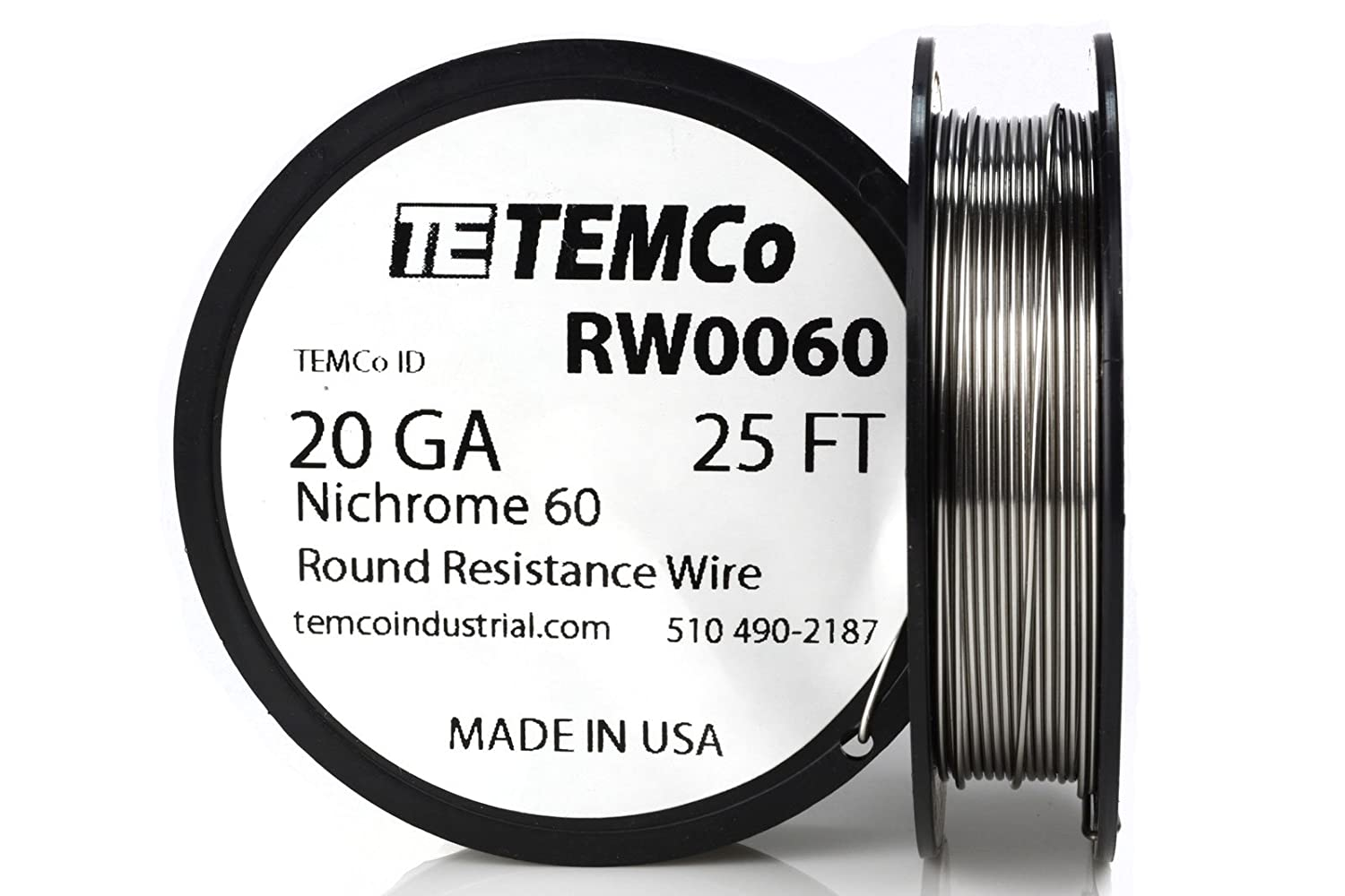 TEMCo Nichrome 60 series wire 20 Gauge 25 Ft Resistance AWG ga ...