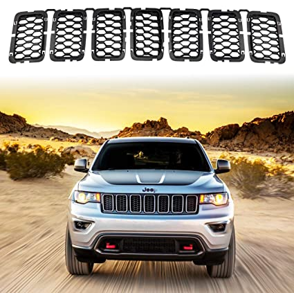 YAV Black Grill Inserts for Jeep Grand Cherokee 2017 2018 2019 2020 Front Grille Inserts Honeycomb Matte Mesh Accessories