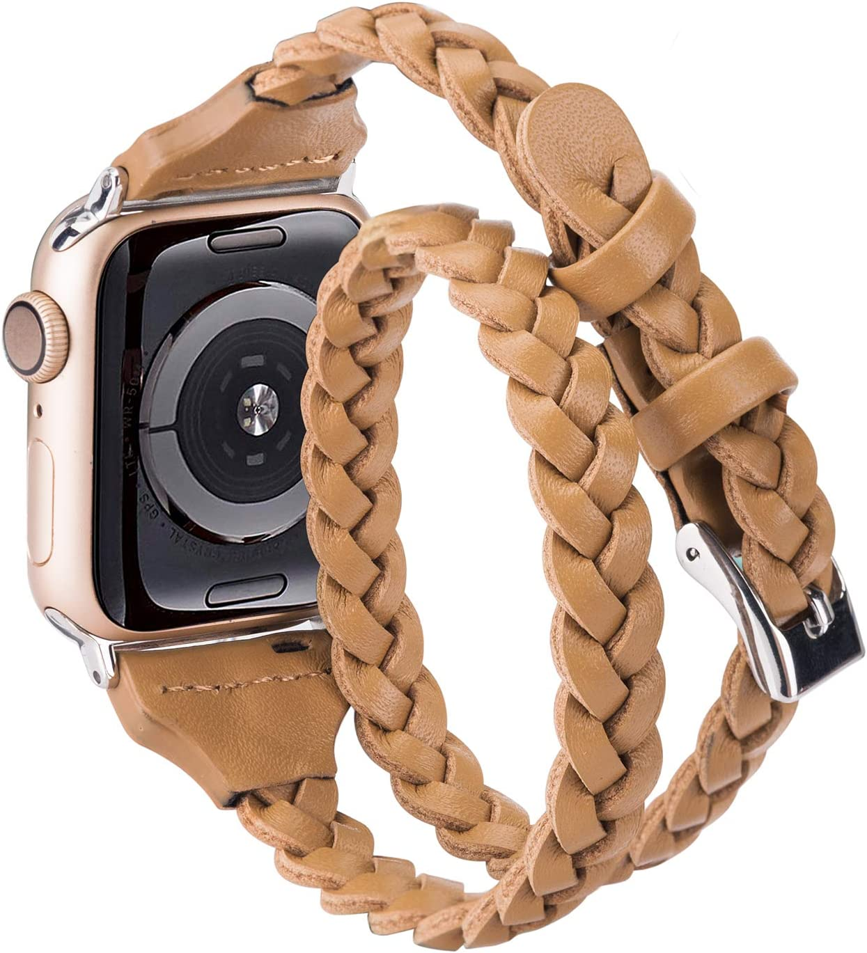 Moolia Double Leather Band Compatible with Apple Watch 38mm 40mm, Women Girls Woven Slim Leather Watch Strap Double Tour Bracelet Replacement for iWatch Series 6 5 4 3 2 1 (Light Brown, 38mm/40mm)