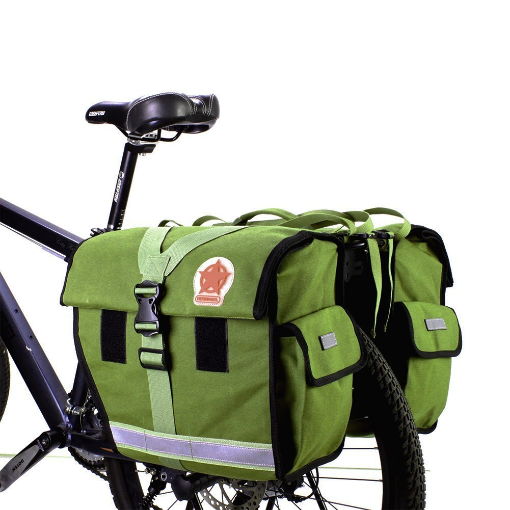 d5d1eab792a Roswheel Unisex s 14686-G 45L Double Large Bicycle Cycle Pannier Luggage  Rack Water-Resistant Rear Seat Carrier Bag Army Green