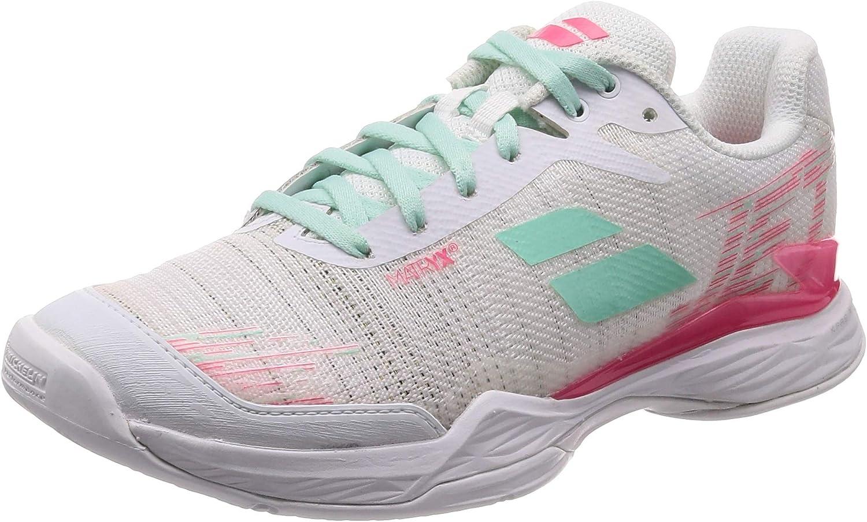 Babolat Jet Mach II Allcourtschuh Damen-Weiß, Pink, Zapatillas de Tenis Mujer