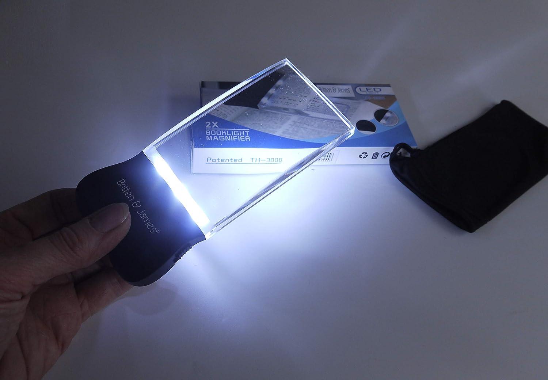 Lente dingrandimento per lettura portatile Premium Britten e James 58mm x 102mm Aiuto alla lettura per persone con problemi di vista Luce a LED Lente rimless cristallina ingrandimento 2X
