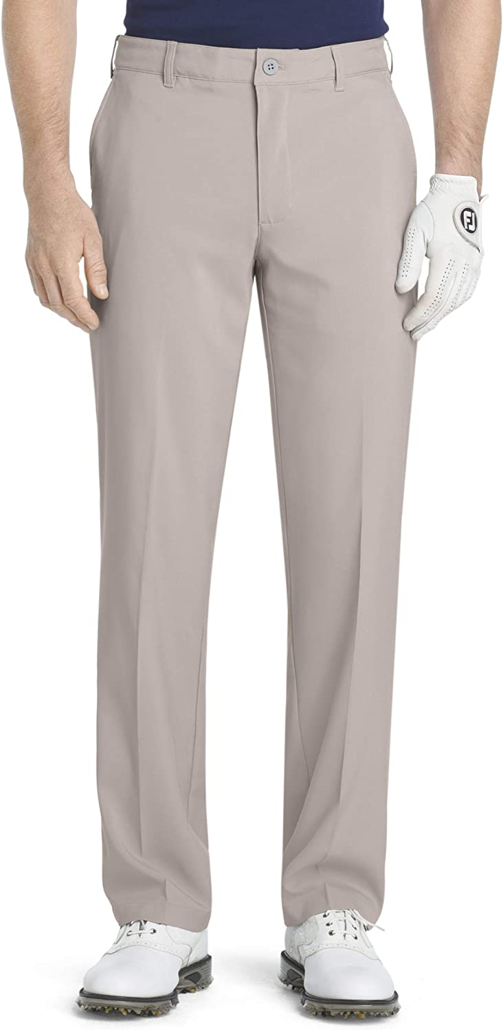 IZOD Men's Flat Front Traditional Slim Fit Basic Microtwill Golf Pant