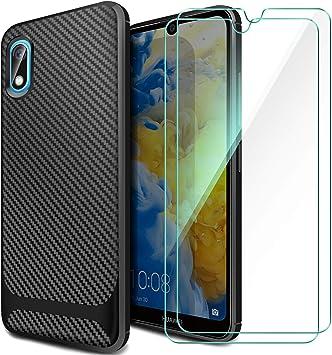 ivencase Coque Huawei Y5 2019 [Lot de 2] Verre trempé Écran Protecteur, Coque Huawei Y5 2019 Silicone TPU Bumper Anti-Scratch Back Cover Etui Housse ...