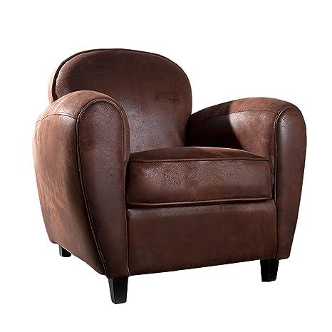 Englischer Echt Leder Sessel Lounge Design mit FussHocker Armlehne Braun Vintag