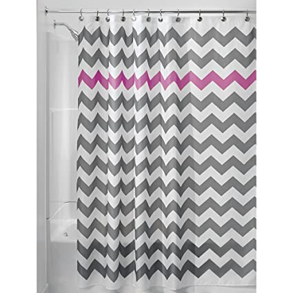 InterDesign Chevron Shower Curtain 72 X Inch Gray Orchid