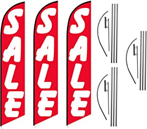 Three Pack of Red Sale Advertising Feather Flag Kits Package, Includes 3 Banner Flags, 3 Flag Poles, and 3 Ground Stakes