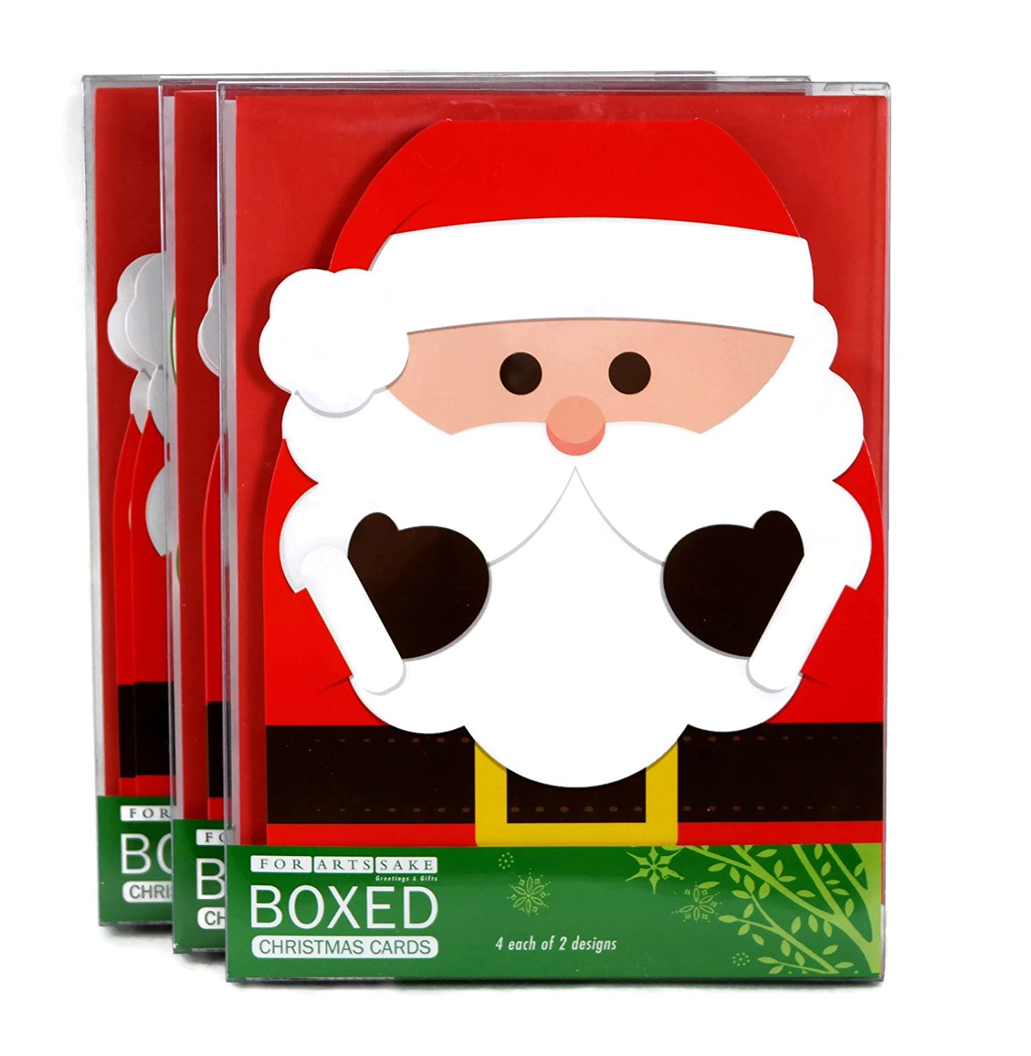 Amazon.com : Merry Christmas Greeting Cards, Santa Claus and Elf Top ...