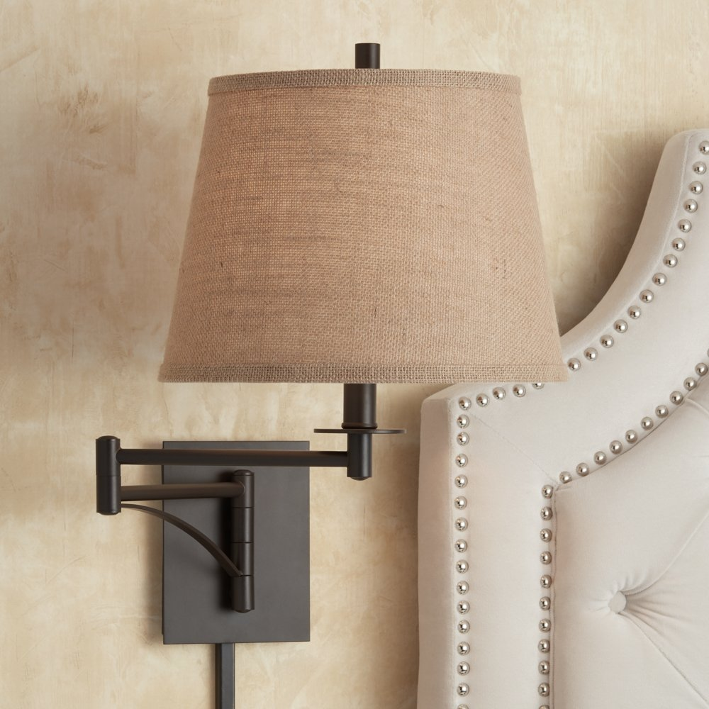 Brinly burlap shade brown plug in swing arm wall light amazon arubaitofo Images