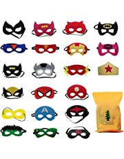 Formwin 21 pack Superhero Masks for Children Adults Kids Party Supplies,Superhero Party Mask for Children Superhero Cosplay Party Eye Masks for Children Party Bags Fillers