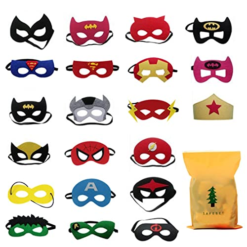 21 pack Superhero Masks for Children Adults Kids Party Masquerade,Superhero Party Mask for Children Superhero Cosplay Party Eye Masks for Children Party Bags Fillers