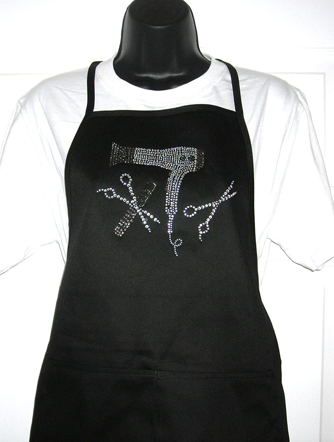 Classic Black Apron - ' Hair Stylist Tools ' Rhinestone Two Pocket Cotton Blend Apron