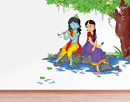 Rawpockets Decals Lord Krishna Playing Flute with Radha on River Bed Wall Sticker - (PVC Vinyl, 80 cm x 80 cm, Multicolour)