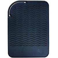 """Heat Resistant Mat for Curling Irons, Hair Straightener, Flat Irons and Hair Styling Tools 9"""" x 6.5"""", Food Grade…"""