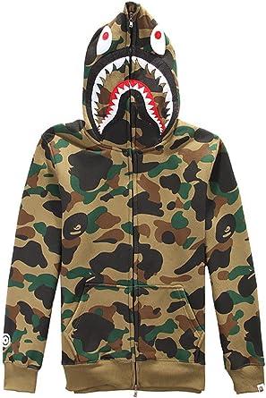 EMILYLE Homme Sweat à Capuche Zippé imprimé Camouflage et borderie Requin Pull à Fermture Eclair