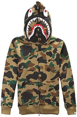745bbd3bec5e EMILYLE Homme Sweat à Capuche Imprimé Camouflage Requin à Fermeture éclair  Pull Manches Longues  Amazon.fr  Vêtements et accessoires