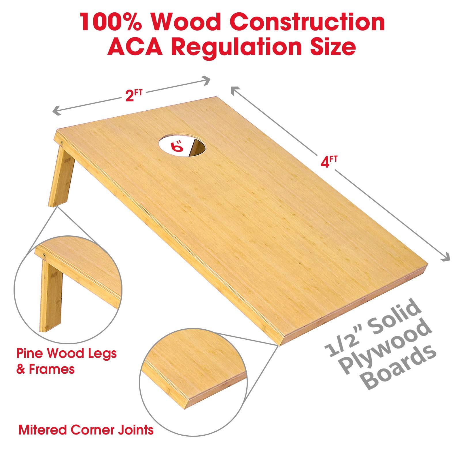GoSports Bamboo Regulation Size Bamboo Cornhole Set   Includes 8 Bean Bags & Carrying Case by GoSports (Image #2)