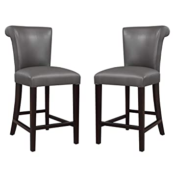 Pleasing Livingston Iii 24 Bar Stool In Anchor Gray With Faux Leather Upholstery And Curved Back Set Of Two By Artum Hill Ibusinesslaw Wood Chair Design Ideas Ibusinesslaworg