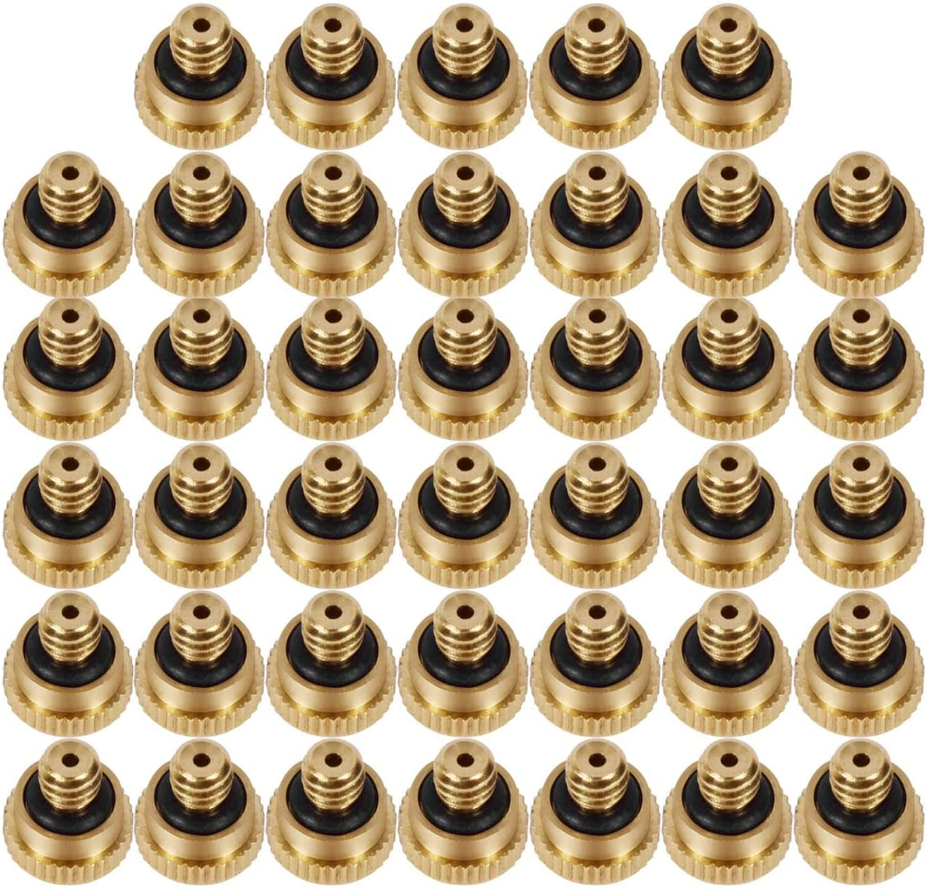"KUWAN 0.016"" Orifice (0.4mm) Thread UNC 10/24 Brass Misting Nozzles Low Pressure Atomizing Misting Sprayer Water Hose Nozzle for Greenhouse, Landscaping, Outdoor Cooling Mister System (40PCS)"