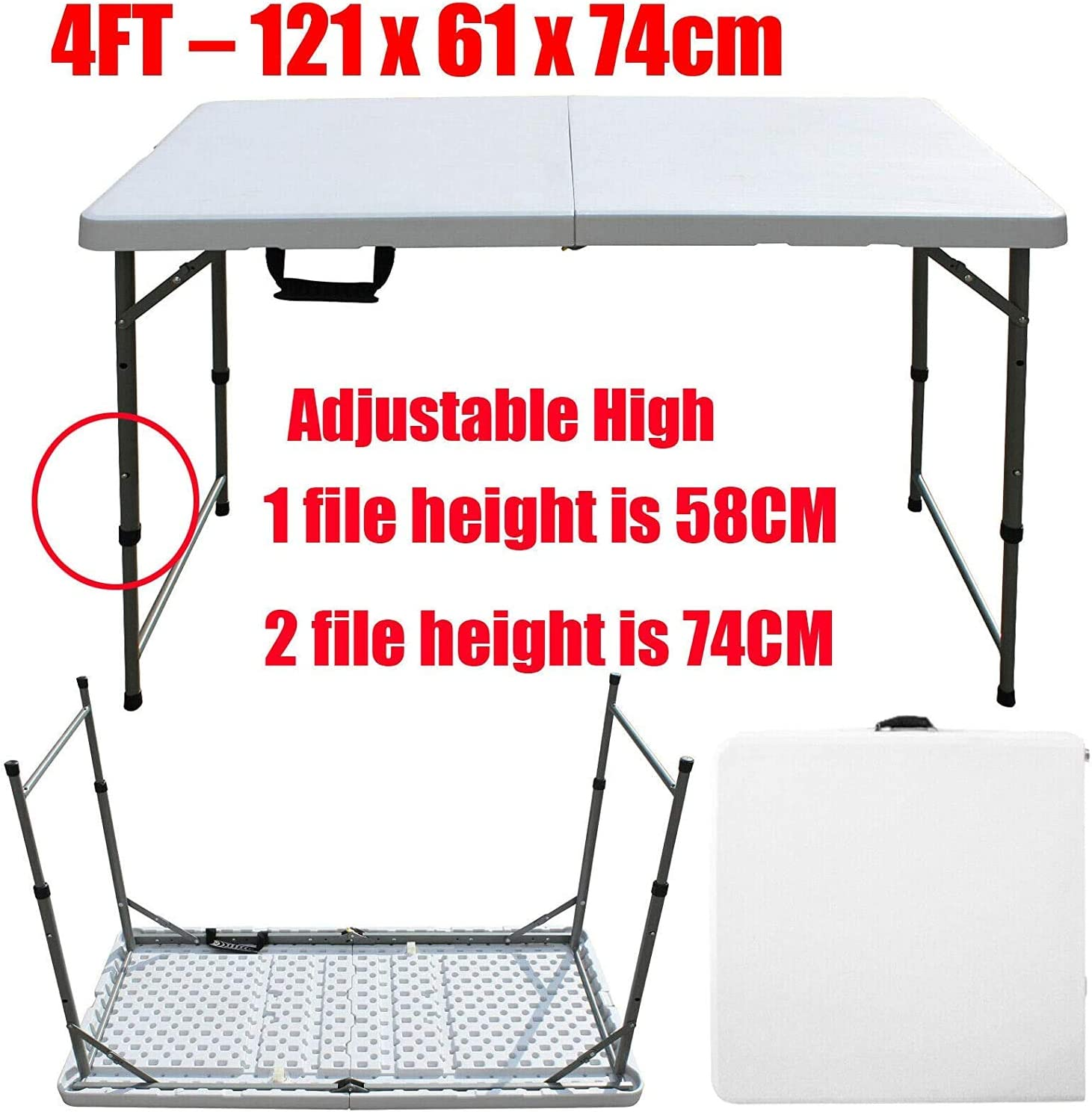 Sizes:121 x 61 x 74cm Approx Folding Table Outdoor Portable Street Stall Night Market Home Use Simple Rectangular Learning Plastic Dining Table