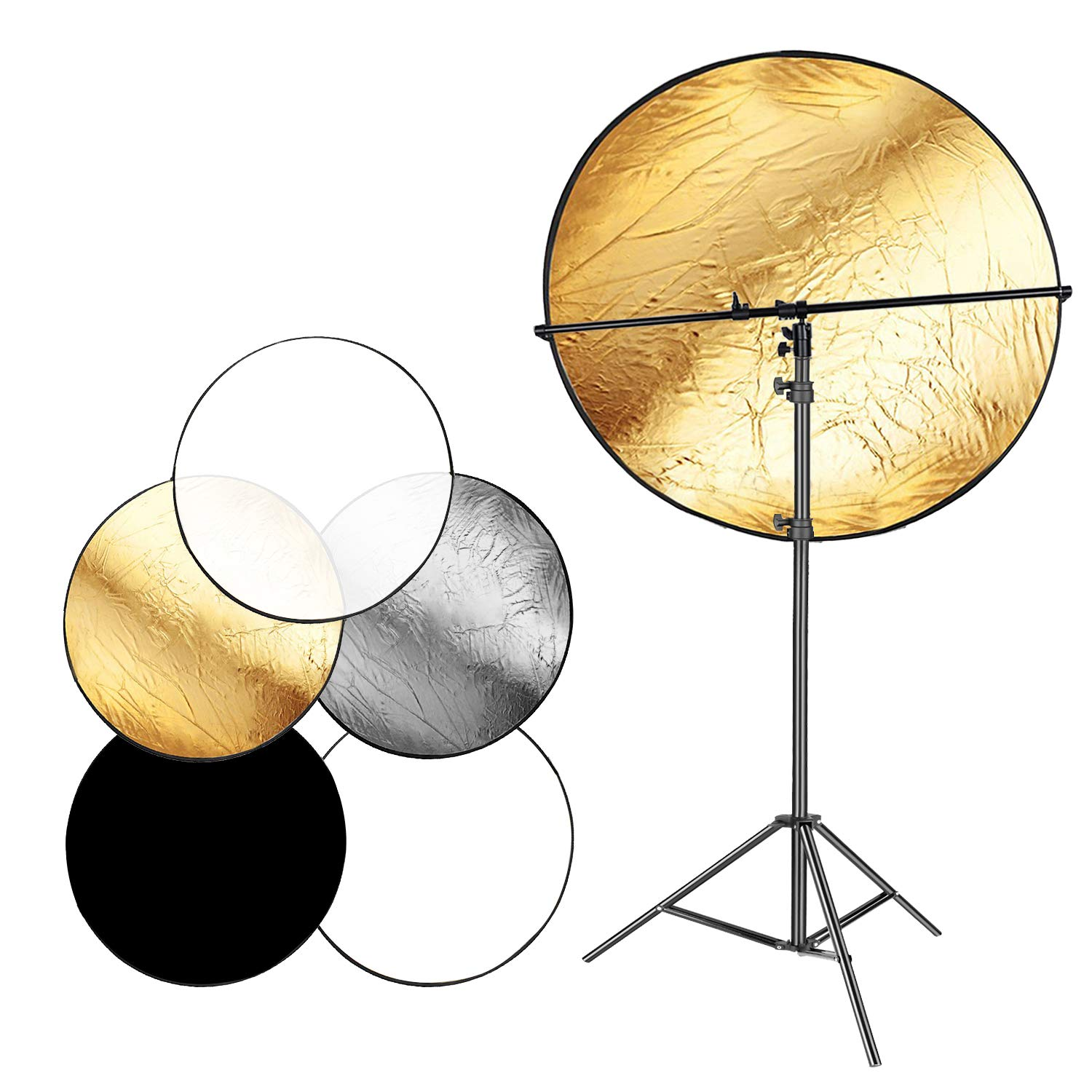 Neewer Photo Studio 43 inches 5-in-1 Collapsible Multi-Disc Lighting Reflector Diffuser Kit Includes 6.5 Feet Metal Light Stand and Telescopic Reflector Support Arm for Portrait Video Photography