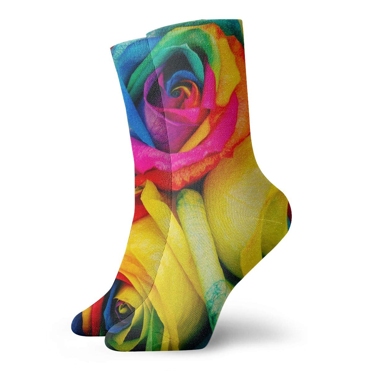 WEEDKEYCAT Rainbow Paper Roses Adult Short Socks Cotton Funny Socks for Mens Womens Yoga Hiking Cycling Running Soccer Sports