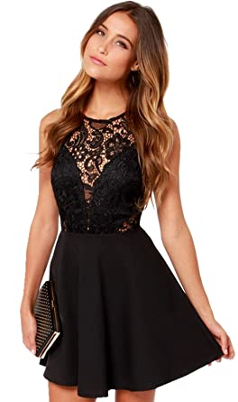 Schwarzes kleid mit spitze kurz