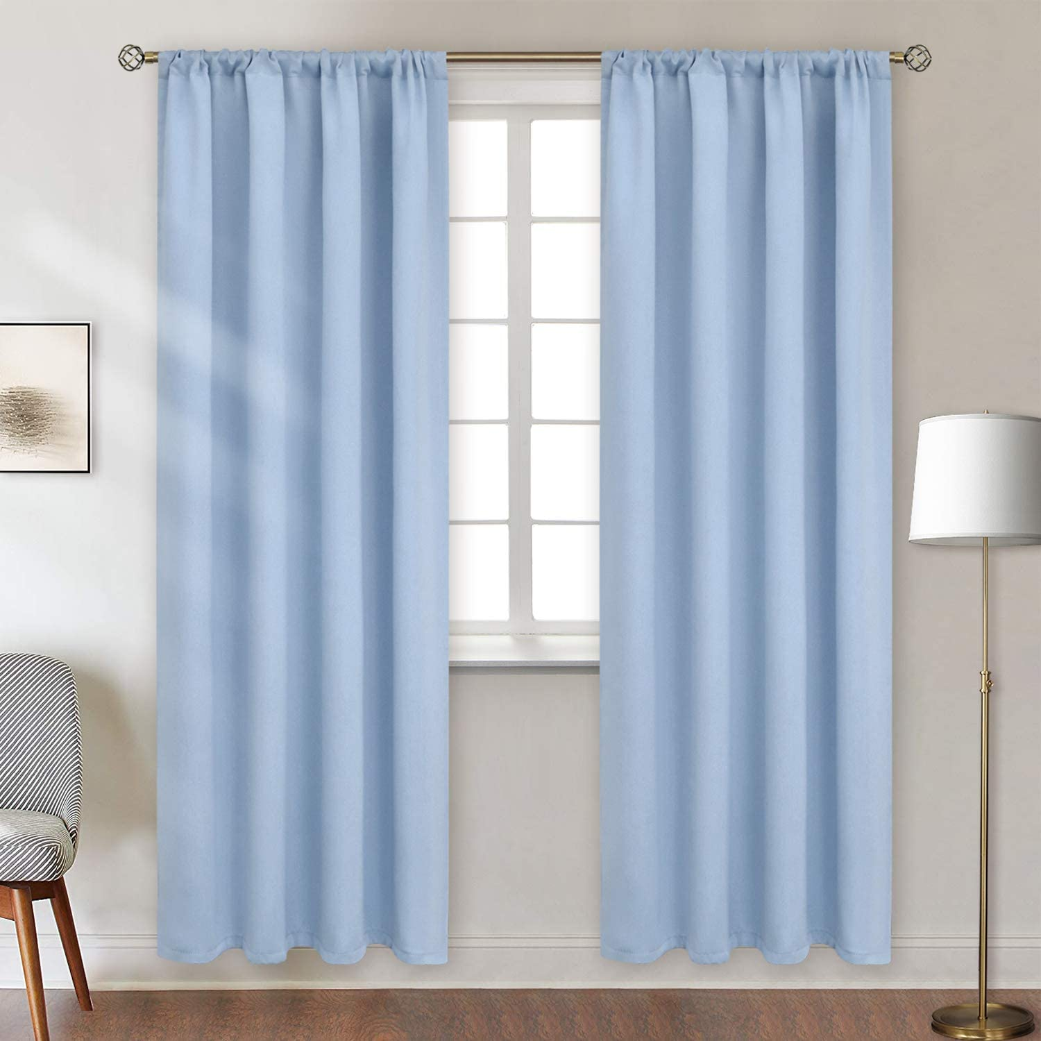 BGment Rod Pocket Blackout Curtains for Bedroom - Thermal Insulated Room Darkening Curtain for Living Room, 52 x 84 Inch, 2 Panels, Spa Blue