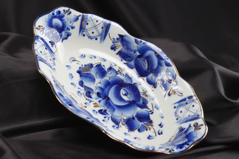 Porcelain Dish With Gzhel Painting