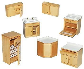 Superb Set: Küche / Küchenmöbel Aus Hellem Natur Holz   Miniatur   Schrank