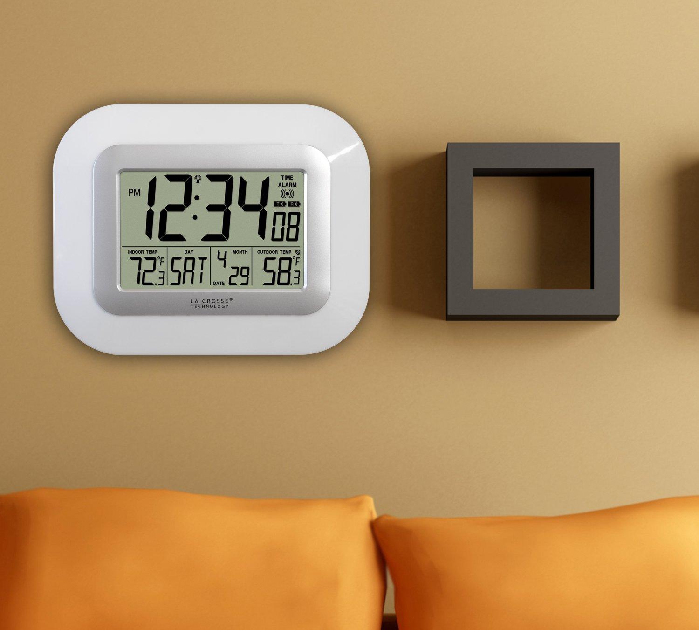 La Crosse Technology WS-811561-W atomic digital wall clock with solar-powered sensor by La Crosse Technology