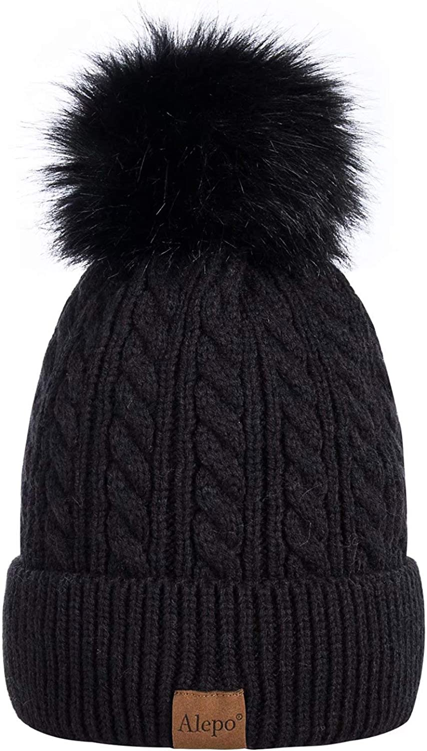 Alepo Womens Winter Beanie Hat Warm Fleece Lined Knitted Soft Ski Cuff Cap with Pom Pom